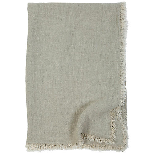 Laurel Linen Throw, Pale Olive