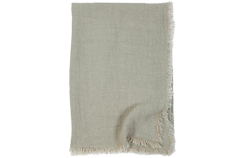 Laurel Linen Throw, Pale Olive