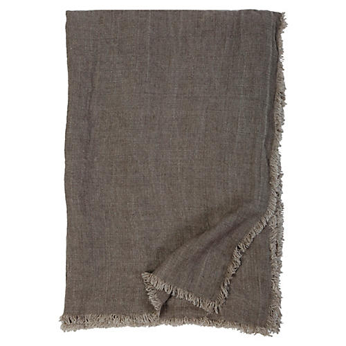Laurel Linen Throw, Pebble