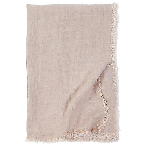 Laurel Linen Throw, Blush
