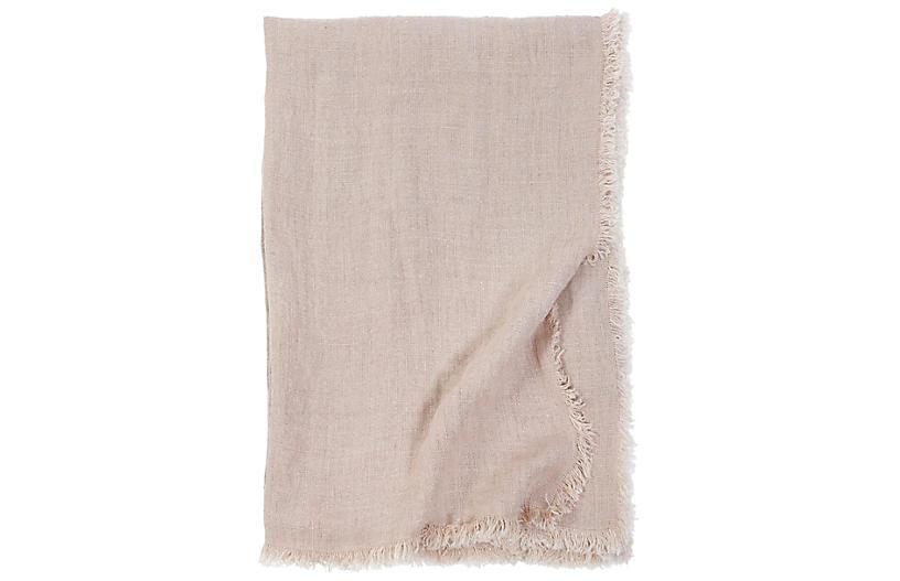Laurel Linen Throw, Blush