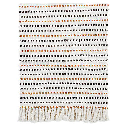 Sully Linen Throw, Copper/Black