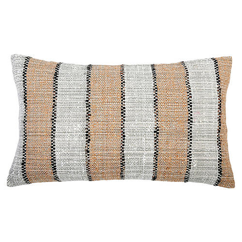 Maddie 14x40 Lumbar Pillow, Copper/Black Linen