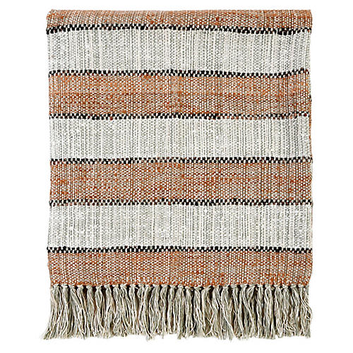 Maddie Linen Throw, Copper/Black