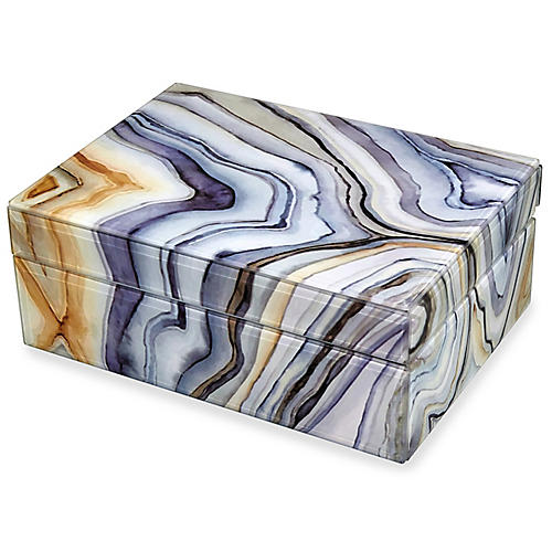 Tahoe Decorative Box, Marbled Gray