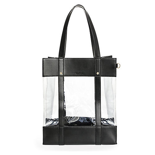 Shopper Tote, Black/Clear