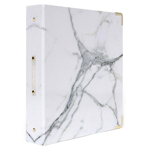 Signature Three-Ring Binder, White Marble
