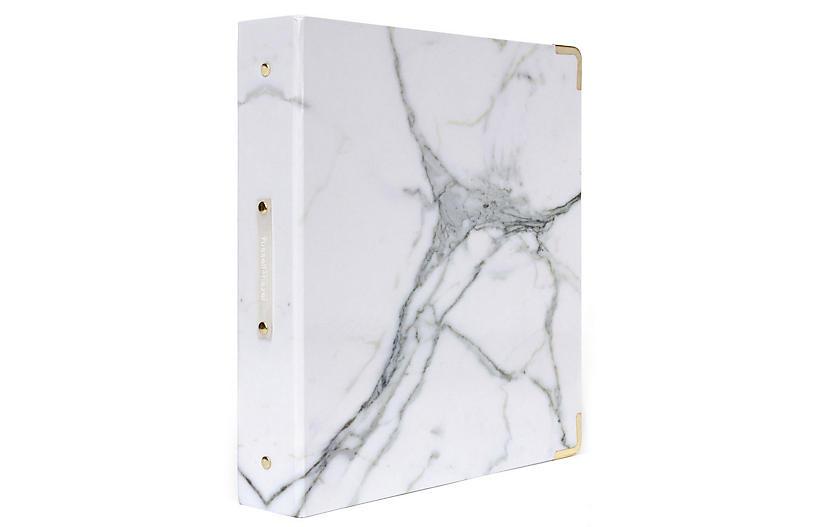 Signature Three-Ring Binder, White Marble