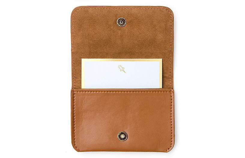 Faux-Leather Card Holder, Tan