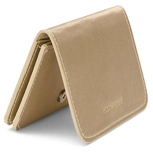 Faux-Leather Card Holder, Gold