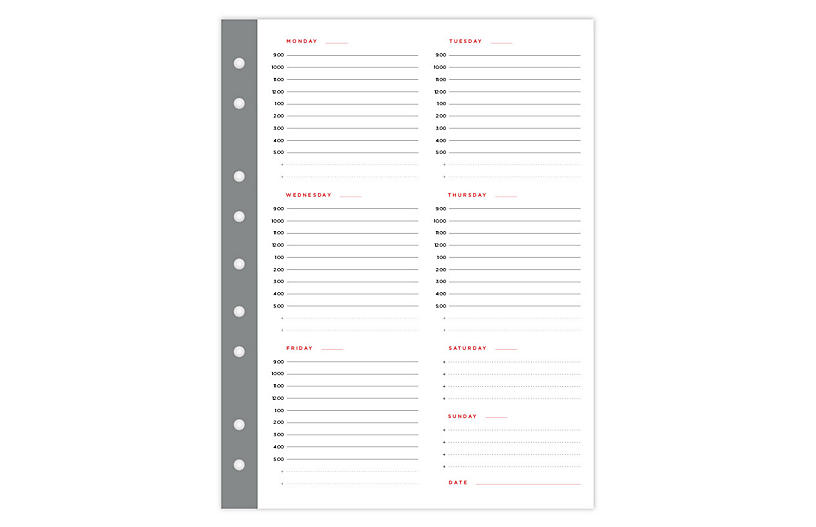 Mini Weekly Smartdate Planner Sheets, White/Gray