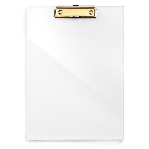 Acrylic Clipboard, Clear/Gold