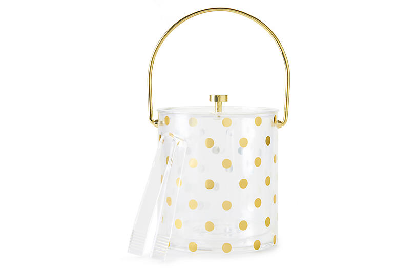 Raise a Glass Acrylic Ice Bucket, Cream/Gold