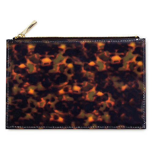 Tortoise Pencil Polyurethane Pouch, Brown/Black