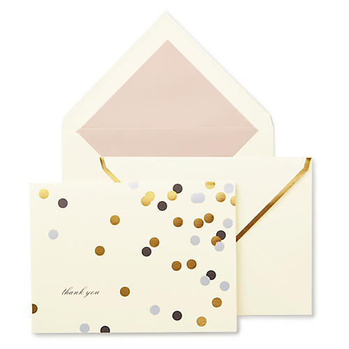 S/10 Confetti Dot Thank You Note Cards
