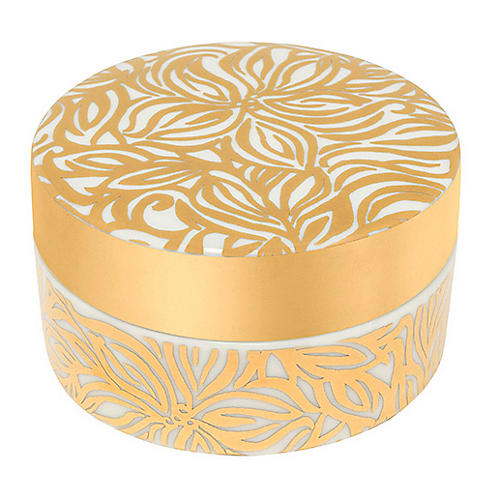 Swirling Floral Dish & Lid, Gold/White