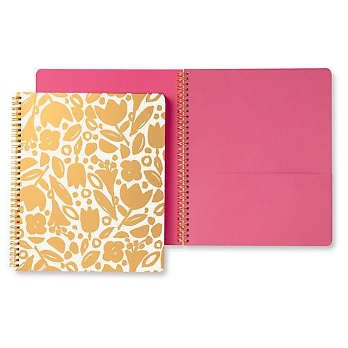 Golden Floral Spiral Notebook, Gold/Pink