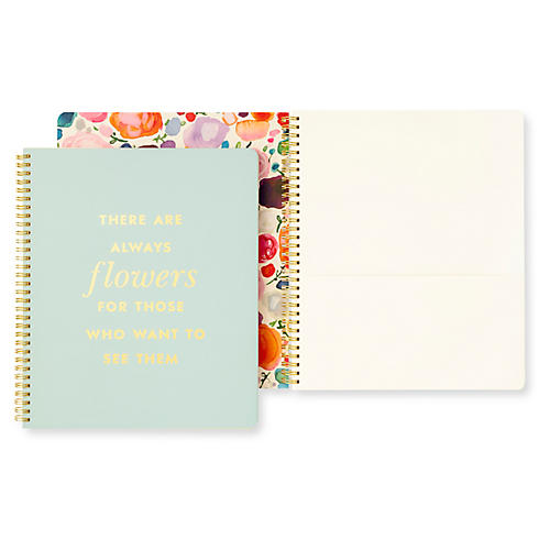 Flowers Spiral Notebook, Blue/Multi