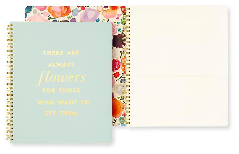 Flowers Spiral Notebook, Blue/Multi