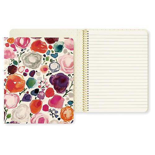 Floral Concealed Spiral Notebook, Natural/Multi