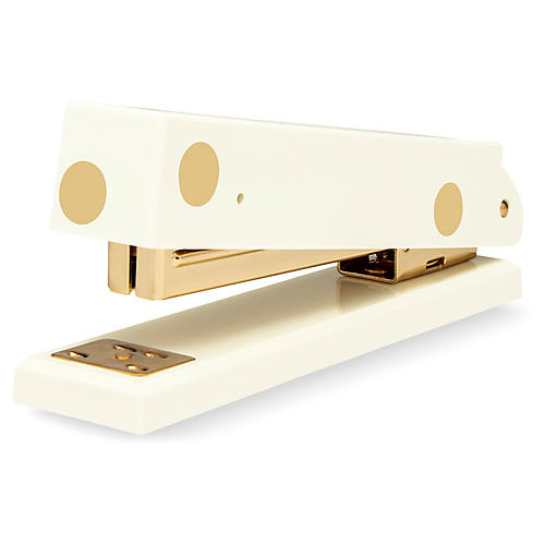 Gold Dot Acrylic Stapler, Cream/Gold