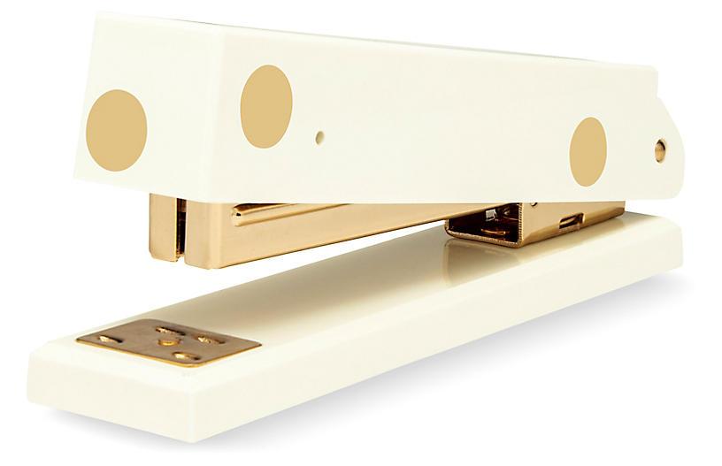 Gold Dot Acrylic Stapler, Cream/Gold