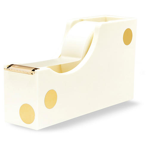 Gold Dot Acrylic Tape Dispenser, Cream/Gold