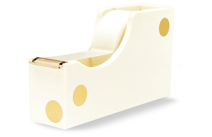 Gold Dot Acrylic Tape Dispenser, Cream/Gold
