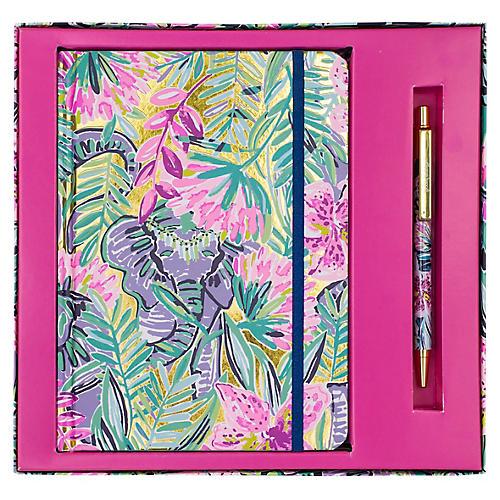 Slathouse Journal w/ Pen, Pink/Multi