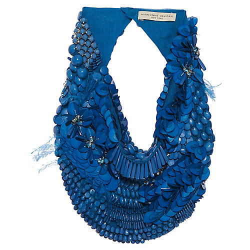 Haley Scarf Necklace, Blue