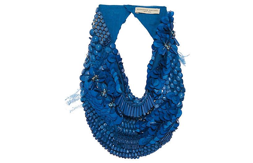 Haley Scarf Necklace, Blue