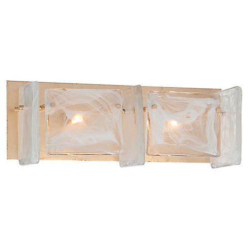 Artic Frost 2-Light Bath Bar, French Gold