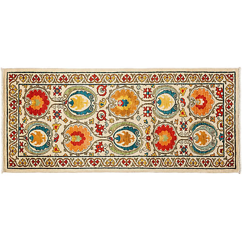 "3'3""x7'5"" Suzani Runner, Cream/Multi"