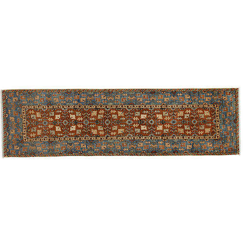 "2'9""x9'9"" Serapi Runner, Brown/Blue"