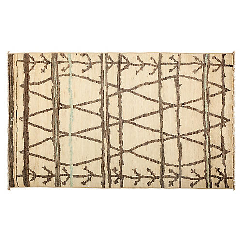 "4'9""x8'1"" Moroccan Rug, Cream/Taupe"