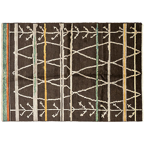 "6'2""x8'9"" Moroccan Rug, Brown/Multi"