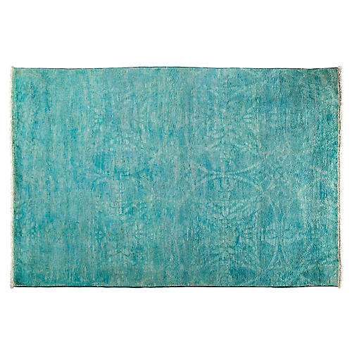 """4'3""""x6'3"""" Pavo Hand-Knotted Rug, Teal"""