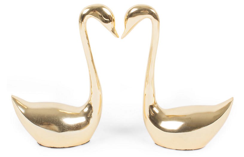 S/2 Kissing Swans Accent, Gold