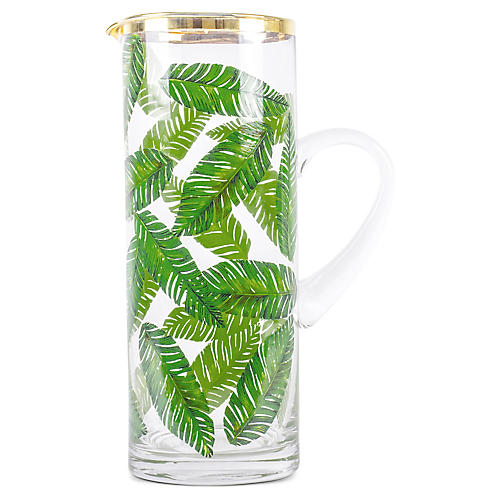 Botanical Leaf Pitcher, Green/Gold