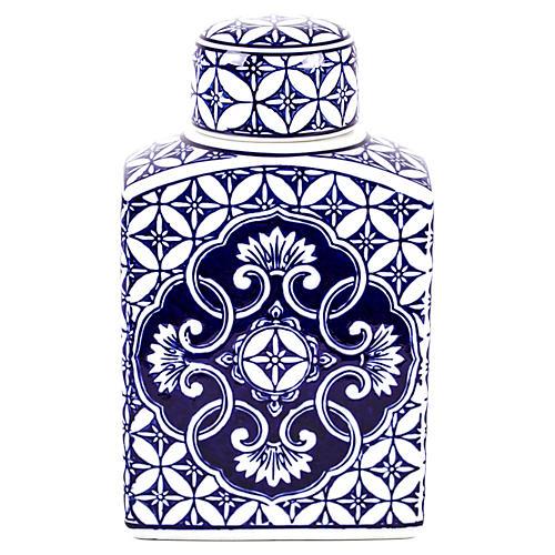 """11"""" Tiled Ginger Jar, Navy/White"""