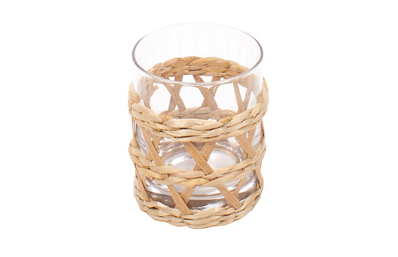 S/4 Glass Rattan Old Fashion, Clear