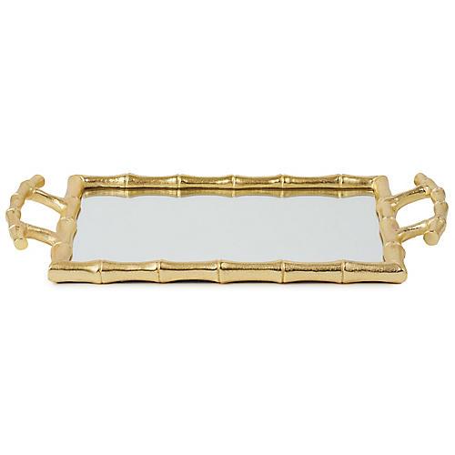 "15"" Bamboo-Style Decorative Tray, Mirror/Gold"