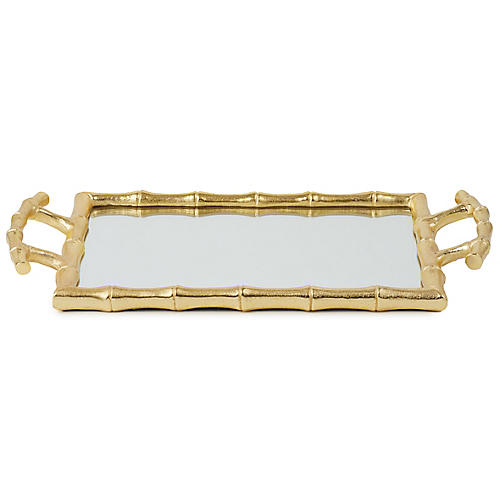 "15"" Bamboo-Style Decorative Tray, Mirror/Gold"