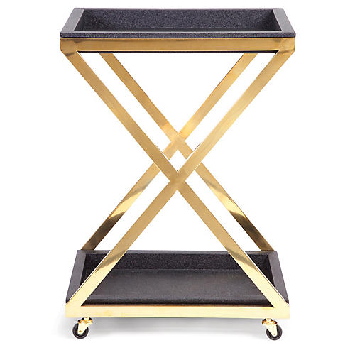 Rubbra X-Frame Bar Cart, Gold/Black