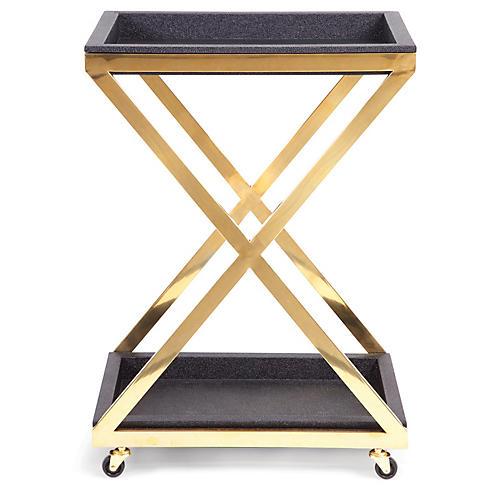 Rubbra X-Frame Bar Cart, Gold/Black