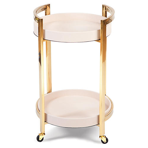 Mahler Round Bar Cart, Gold/Blush