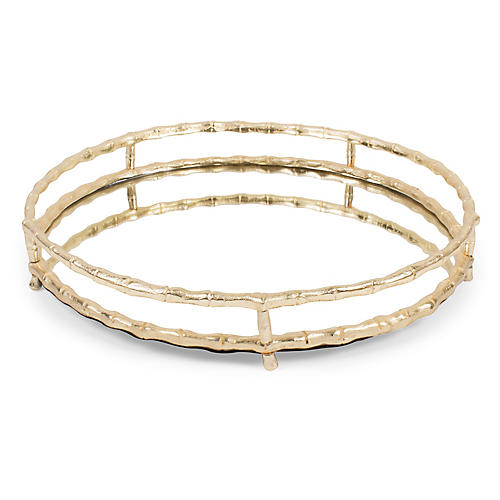 "19"" Bamboo-Style Round Tray, Mirror/Gold"