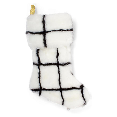 "17"" Faux-Fur Stocking, Black/White Check"