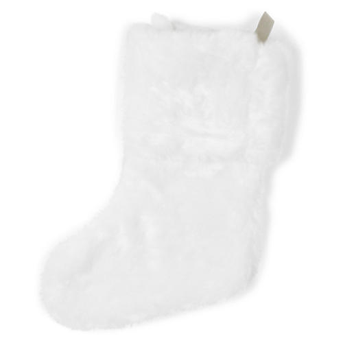 "17"" Faux-Fur Stocking, White"
