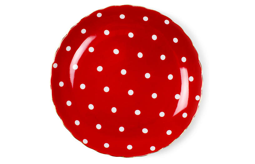 S/8 Dotted Dessert Plates, Red/White